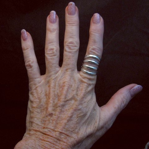 Image 1 of Navajo Native American Silver 4-Way Split Ring sz7-3/4, Wilbert Benally