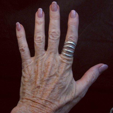 Image 1 of Navajo Native American Silver 4-Way Split Ring sz7-3/4, Wilbert Benally