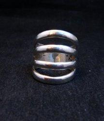 Navajo Native American Silver 4-Way Split Ring sz7-3/4, Wilbert Benally