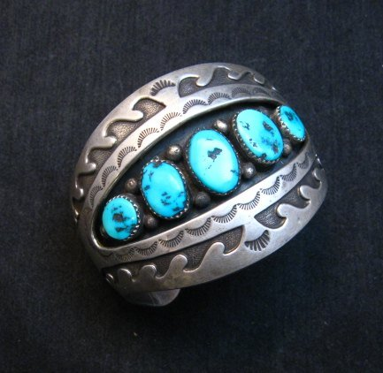 Image 0 of Vintage Pawn Navajo Turquoise Shadow Box Cuff Bracelet signed H.S.B