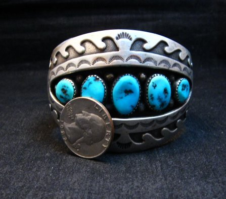 Image 9 of Vintage Pawn Navajo Turquoise Shadow Box Cuff Bracelet signed H.S.B