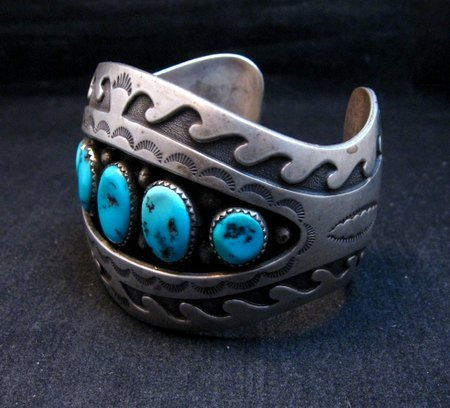 Image 1 of Vintage Pawn Navajo Turquoise Shadow Box Cuff Bracelet signed H.S.B