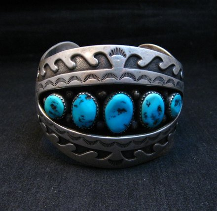Image 6 of Vintage Pawn Navajo Turquoise Shadow Box Cuff Bracelet signed H.S.B