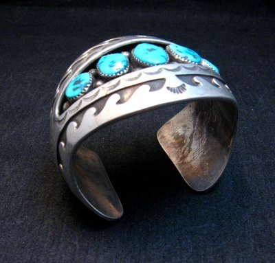 Image 8 of Vintage Pawn Navajo Turquoise Shadow Box Cuff Bracelet signed H.S.B