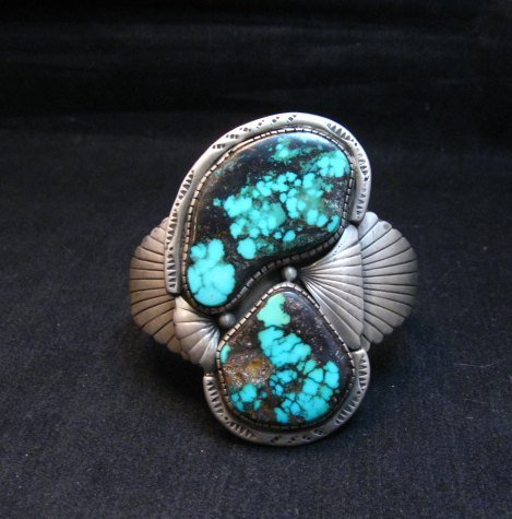 Image 6 of Vintage Pawn Navajo Double Turquoise Silver Bracelet signed