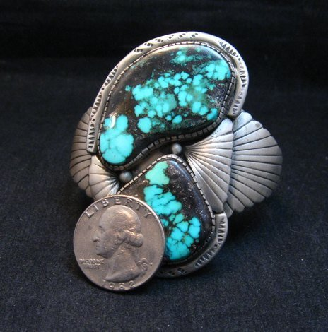 Image 5 of Vintage Pawn Navajo Double Turquoise Silver Bracelet signed
