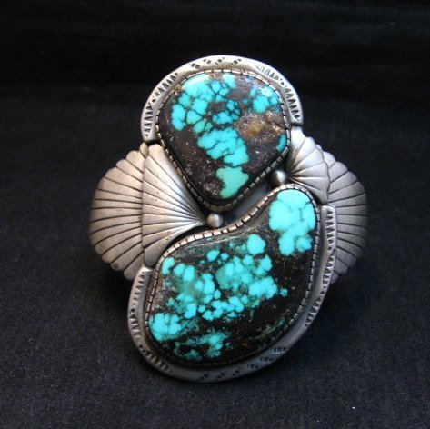 Image 0 of Vintage Pawn Navajo Double Turquoise Silver Bracelet signed