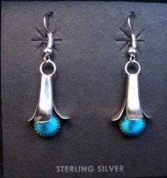 Doris Smallcanyon Navajo Turquoise Sterling Silver Squash Blossom Earrings