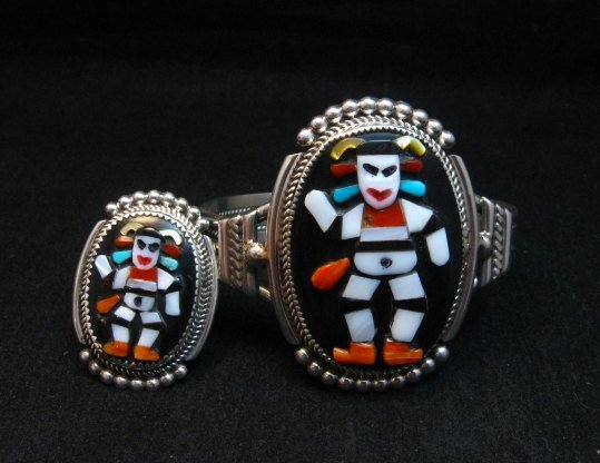 Image 0 of Zuni Native American Koshare Clown Inlay Bracelet, Beverly Etsate