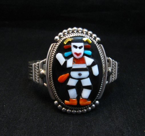Image 1 of Zuni Native American Koshare Clown Inlay Bracelet, Beverly Etsate