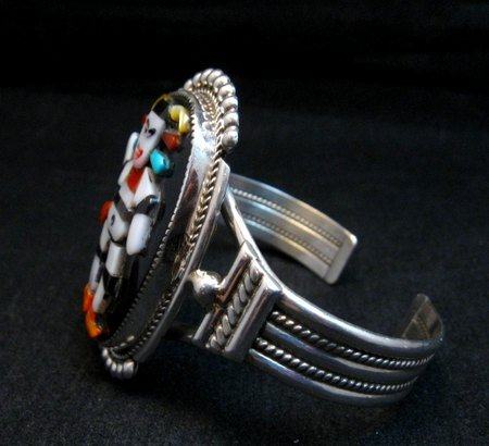 Image 3 of Zuni Native American Koshare Clown Inlay Bracelet, Beverly Etsate