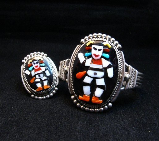 Image 8 of Zuni Native American Koshare Clown Inlay Bracelet, Beverly Etsate
