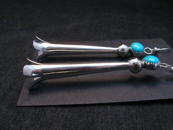 Image 2 of Extra Long Doris Smallcanyon Navajo Turquoise Silver Squash Blossom Earrings