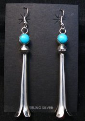 Extra Long Doris Smallcanyon Navajo Turquoise Silver Squash Blossom Earrings