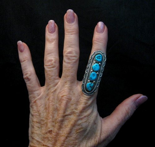 Image 1 of Navajo Native American 4-Stone Turquoise Cluster Ring sz7, Julia Etsitty