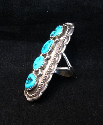 Image 2 of Navajo Native American 4-Stone Turquoise Cluster Ring sz7, Julia Etsitty