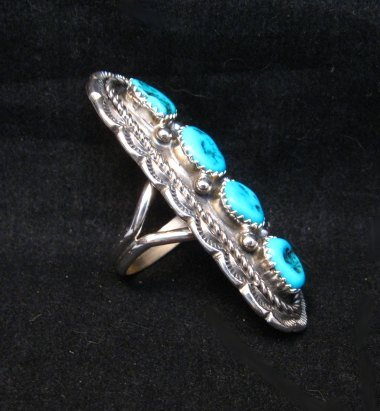 Image 3 of Navajo Native American 4-Stone Turquoise Cluster Ring sz7, Julia Etsitty