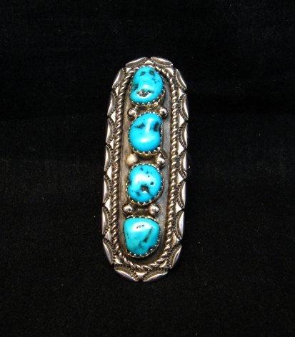 Image 1 of Long Navajo Native American 4-Stone Turquoise Ring sz7-1/2, Julia Etsitty