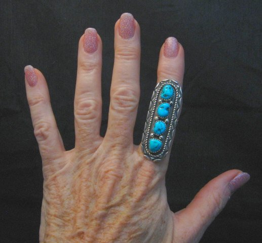 Image 2 of Long Navajo Native American 4-Stone Turquoise Ring sz7-1/2, Julia Etsitty