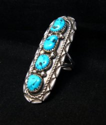 Long Navajo Native American 4-Stone Turquoise Ring sz7-1/2, Julia Etsitty