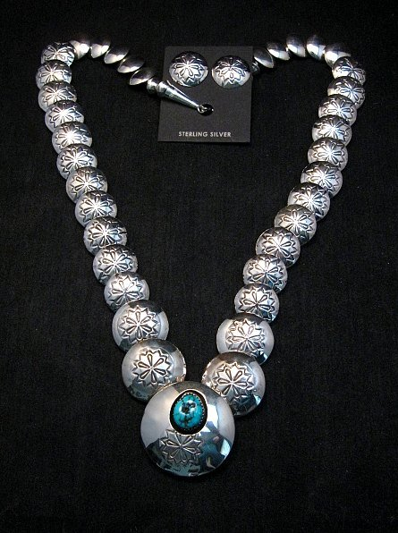 Image 0 of Navajo Native American Hollow Silver Disk Bead Turquoise Necklace Earrings