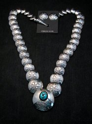 Navajo Native American Hollow Silver Disk Bead Turquoise Necklace Earrings