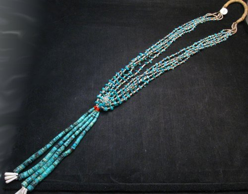 Image 0 of Dead Pawn Native American Navajo Turquoise Jacla Necklace
