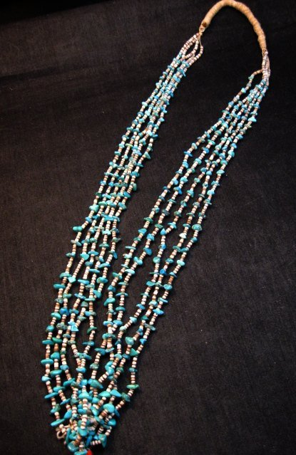 Image 1 of Dead Pawn Native American Navajo Turquoise Jacla Necklace