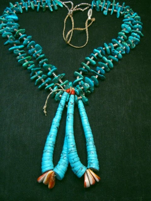 Image 1 of Dead Pawn Native American Navajo Turquoise Nugget Jacla Necklace