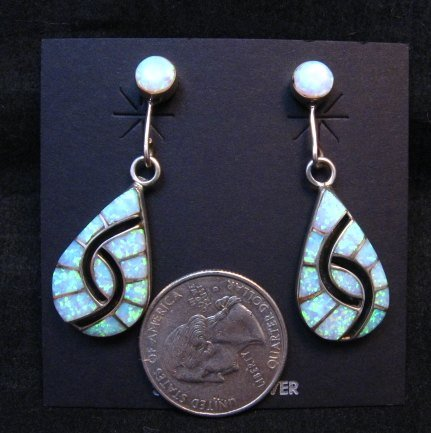 Image 1 of Amy Quandelacy Zuni Lab Opal Hummingbird Dangle Earrings