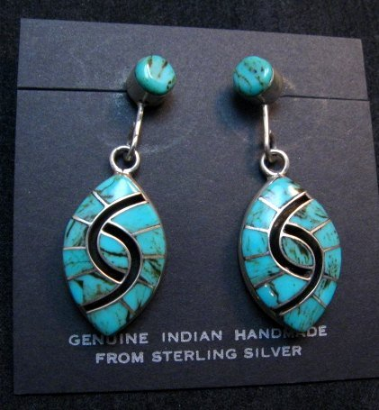 Image 0 of Long Amy Quandelacy Zuni Turquoise Hummingbird Earrings