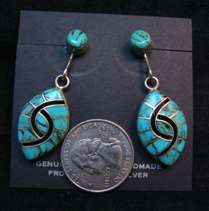 Image 1 of Long Amy Quandelacy Zuni Turquoise Hummingbird Earrings