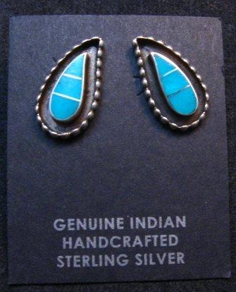 Image 0 of Zuni Susie Lowsayatee Turquoise Silver Inlay Leaf Earrings