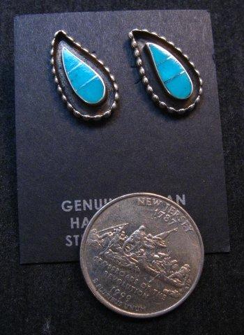 Image 1 of Zuni Susie Lowsayatee Turquoise Silver Inlay Leaf Earrings
