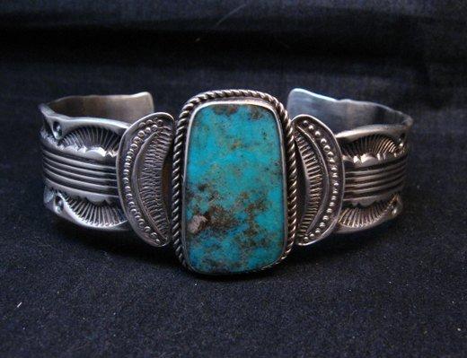 Image 0 of Large Navajo Morenci Turquoise Silver Bracelet, Eugene Hale