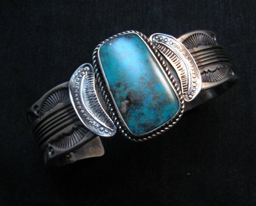 Image 1 of Large Navajo Morenci Turquoise Silver Bracelet, Eugene Hale