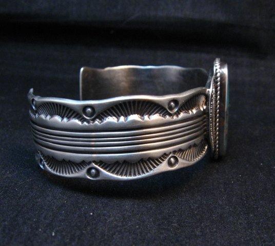 Image 2 of Large Navajo Morenci Turquoise Silver Bracelet, Eugene Hale