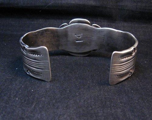 Image 3 of Large Navajo Morenci Turquoise Silver Bracelet, Eugene Hale