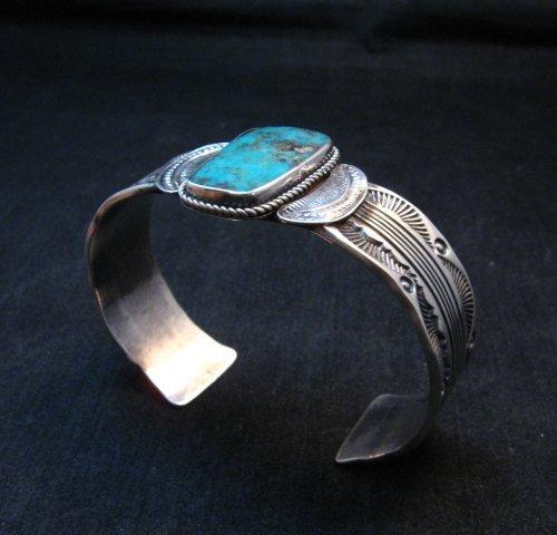 Image 5 of Large Navajo Morenci Turquoise Silver Bracelet, Eugene Hale
