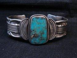 Large Navajo Morenci Turquoise Silver Bracelet, Eugene Hale