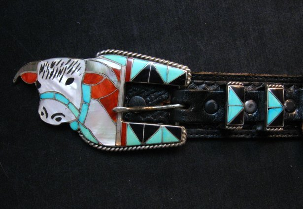 Image 0 of Vintage Zuni Inlaid Steer Ranger Buckle and Western Belt, Helen & Lincoln Zunie