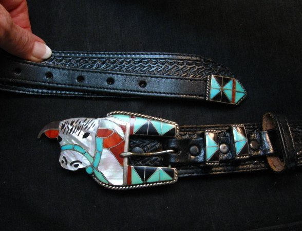 Image 1 of Vintage Zuni Inlaid Cow Ranger Buckle and Western Belt, Helen & Lincoln Zunie
