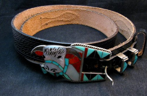 Image 3 of Vintage Zuni Inlaid Steer Ranger Buckle and Western Belt, Helen & Lincoln Zunie