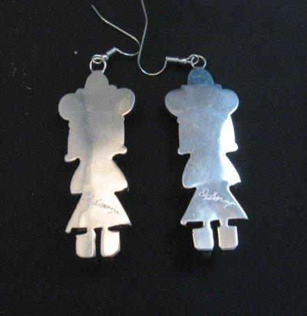Image 2 of Navajo Native American Turquoise Silver Kachina Earrings, Doris Smallcanyon