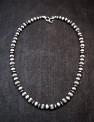 Native American Mixed Sterling Silver 6-7mm Bead Navajo Pearls Necklace 20-inch