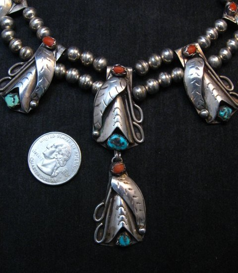 Image 2 of Vintage Native American Turquoise Coral Silver Squash Blossom Necklace