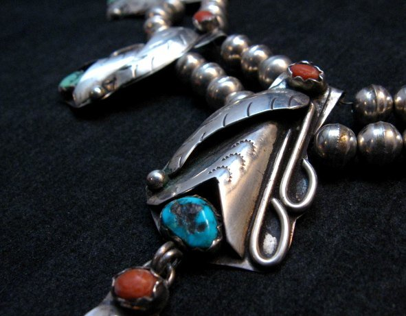 Image 3 of Vintage Native American Turquoise Coral Silver Squash Blossom Necklace
