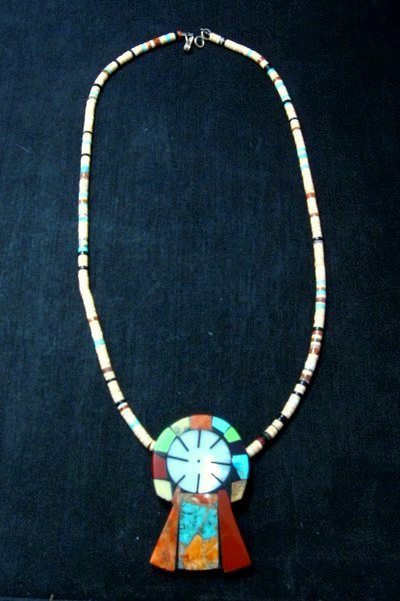 Image 1 of Colorful Mary Tafoya Kewa Santo Domingo Multi-Stone Inlay Necklace