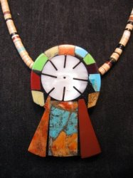 Colorful Mary Tafoya Kewa Santo Domingo Multi-Stone Inlay Necklace