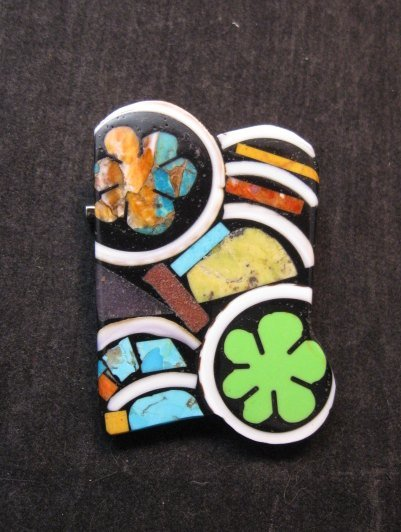 Image 0 of Abstract Mary Tafoya Santo Domingo Mosaic Flower Inlay Pin/Pendant